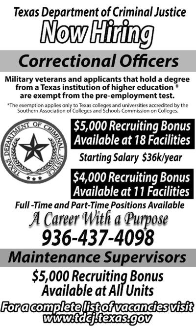 texas department of criminal justice now hiring correctional officers military veterans and applicants that hold a degree from a texas institution of higher