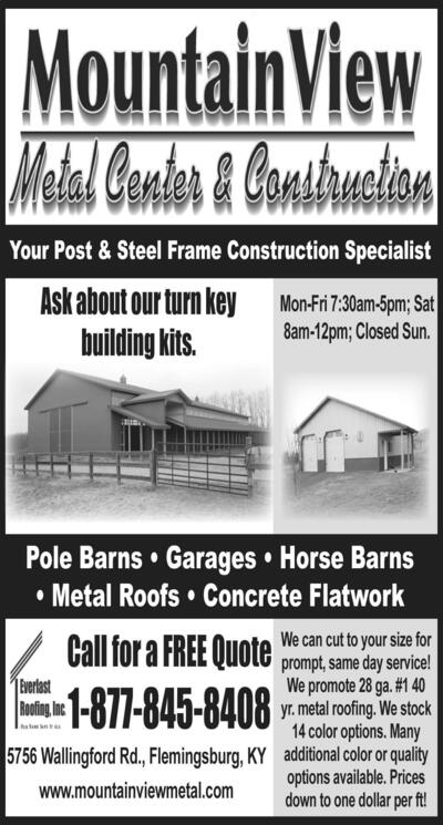 The Morehead News   Classifieds   Services   Your Post & Steel Frame ...