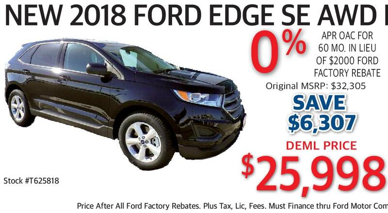 New  Ford Edge Se Awd Ecoboost  Apr Oac For  Mo In Lieu Of  Ford Factory Rebate Original Msrp  Deml Price  Stock