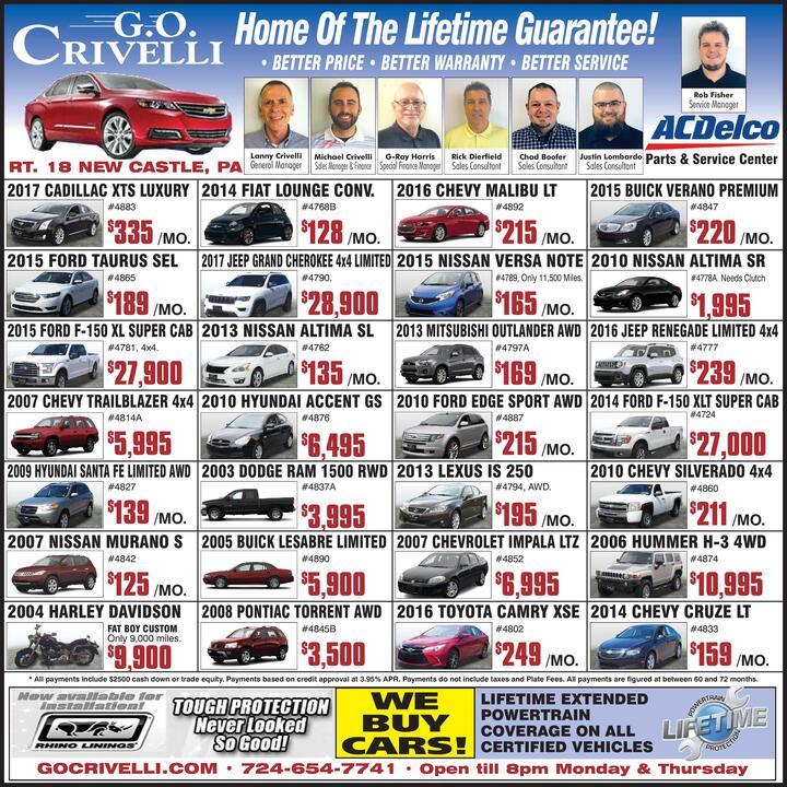 2016 TOYOTA CAMRY XSE # 4802 $249 /MO. G.O CRIVELLI Home Of The Lifetime  Guarantee! U2022 BETTER PRICE U2022 BETTER WARRANTY U2022 BETTER SERVICE RT. 18 NEW  CASTLE, PA