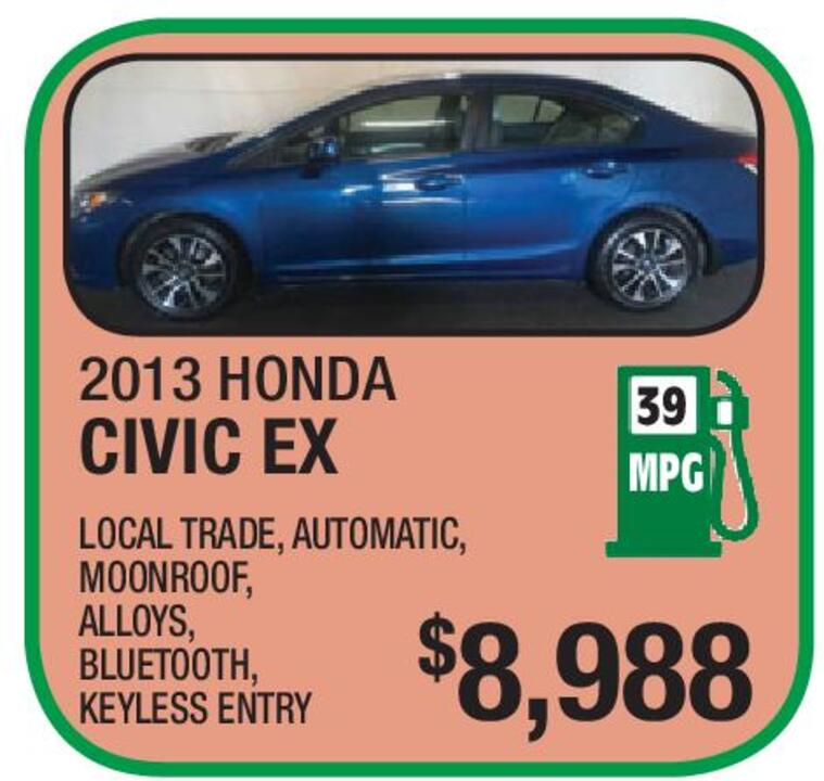 2013 HONDA CIVIC EX $8,988 LOCAL TRADE, AUTOMATIC, MOONROOF, ALLOYS,  BLUETOOTH, KEYLESS ENTRY 39 MPG VIEW OUR ENTIRE INVENTORY AT WWW.NASSIEF.COM