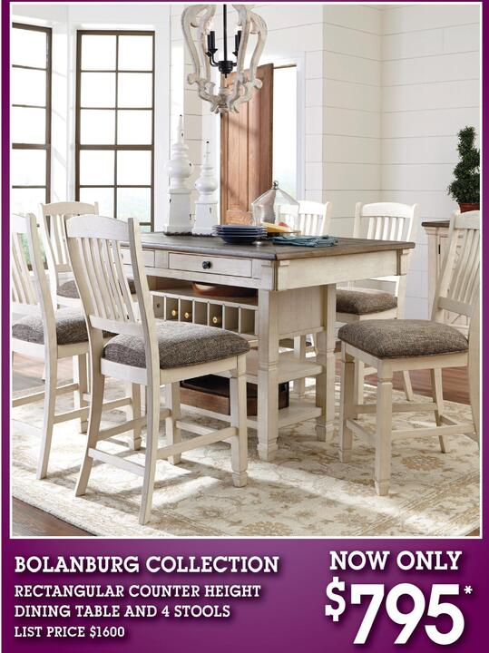 BOLANBURG COLLECTION RECTANGULAR COUNTER HEIGHT DINING TABLE AND 4 STOOLS LIST PRICE 1600 NOW ONLY 795 OPEN LABOR DAY Ask About Our Free Delivery