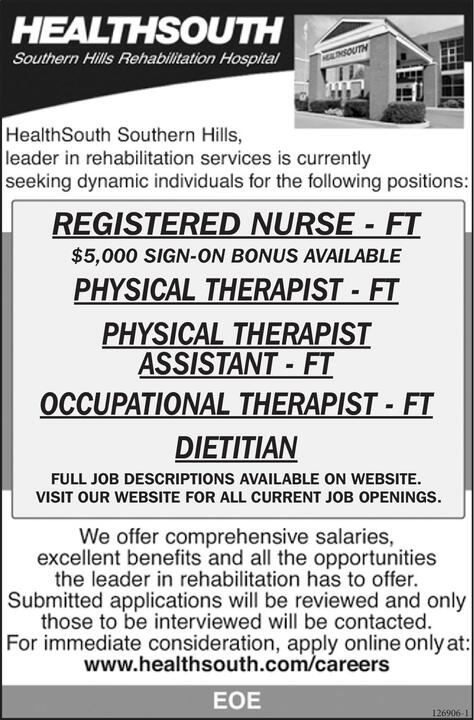 The Register Herald | Classifieds | Employment | DIETITIAN