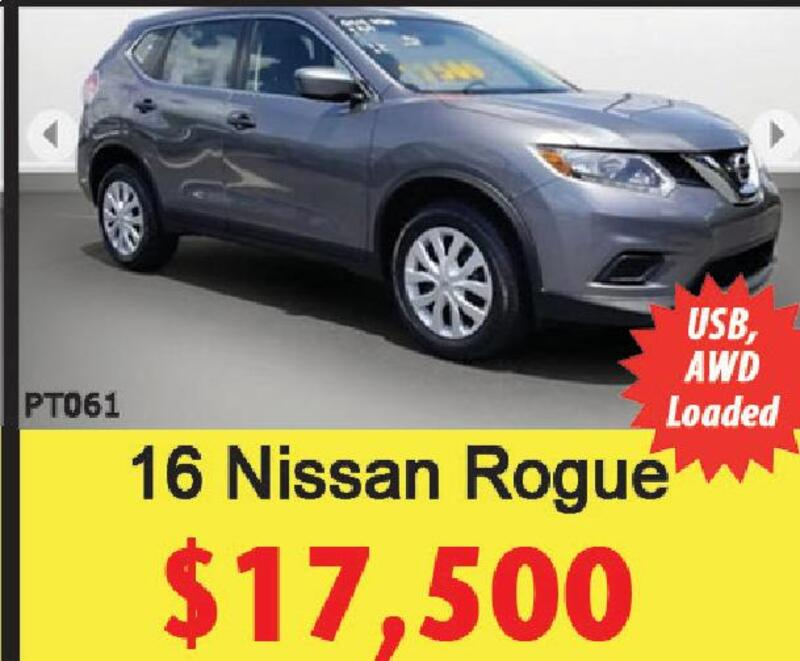 USB, AWD Loaded PT061 16 Nissan Rogue $17,500. Ford Of Dalton Ford LABOR  DAY SELLATHON HUGE Selction HUGE Savings Bank Reps On Site To Sign U0026 Drive!