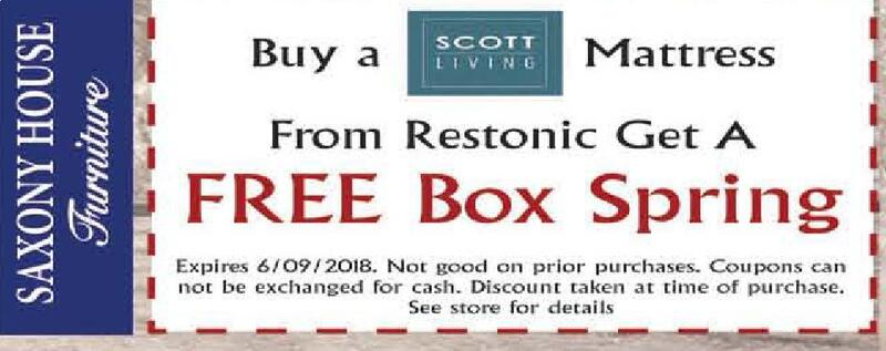 Extra Savings! SCOTT LIVING Buy A Mattress From Restonic Get A FREE Box  Spring Expires 6/09/2018. Not Good On Prior Purchases. Coupons Can Not Be  Exchanged ...