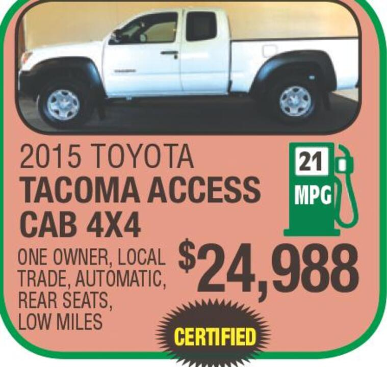 2015 TOYOTA TACOMA ACCESS CAB 4X4 21 MPG ONE OWNER LOCAL TRADE, AUTOMATIC  REAR SEATS, LOW MILES $24,988 CERTIFIED VIEW OUR ENTIRE INVENTORY AT  WWW.NASSIEF.