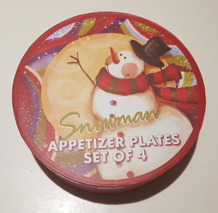 set of 4 appetizers plates christmassnowman theme