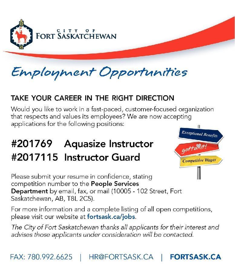 city of fort saskatchewan employment opportunities take job