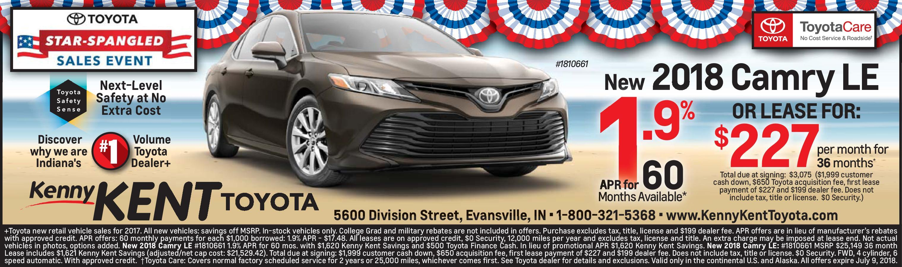 2018 Camry LE Kenny KENT TOYOTA