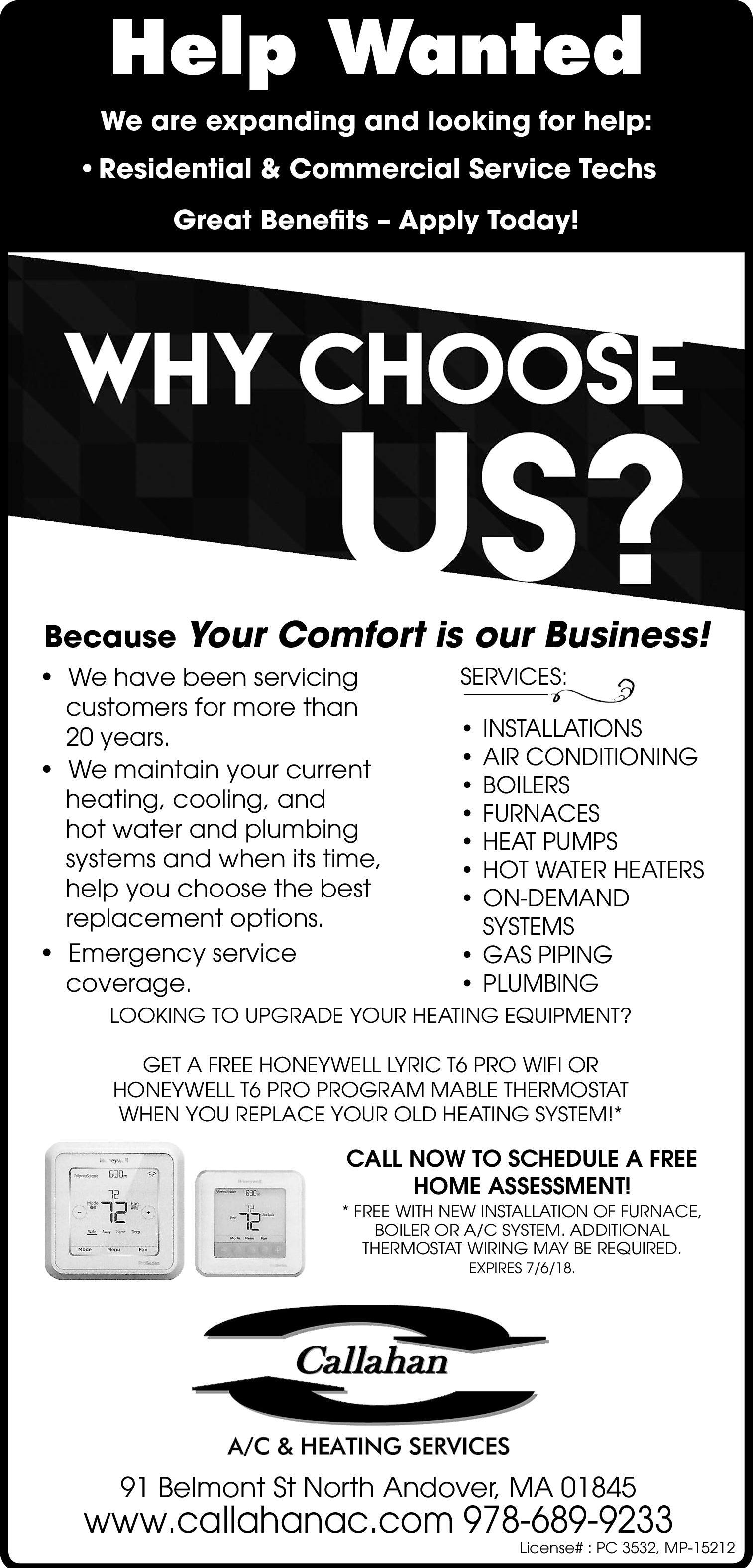 The Eagle Tribune Newspaper Ads Classifieds Employment Wiring A Second Thermostat Residential Commercial Service