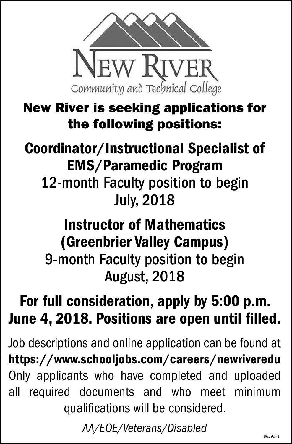 the register herald newspaper ads classifieds employment new river community and technical college