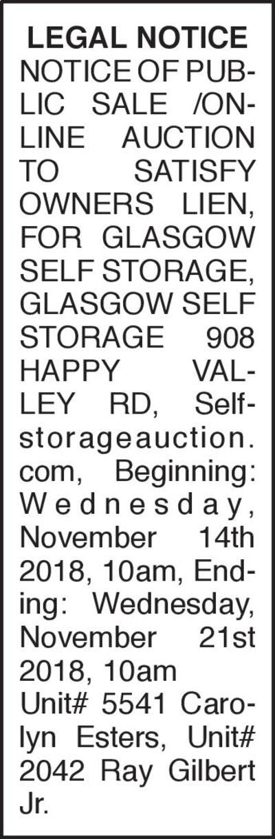 Glasgow Daily Times | Classifieds | Public Notices