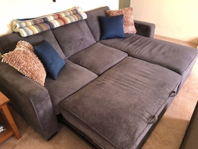 a8345365c6 About a year old in great condition. In need of a larger sofa. This pulls  out to a king size bed. Great for visiting family and friends. Navy Blue.
