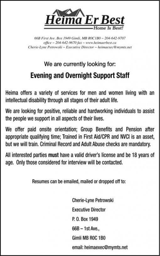 Stonewall Argus & Teulon Times | Classifieds | Employment